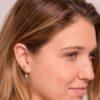 Pendientes aro con zirconita, pendientes estrella polar con zirconita, pendientes estrella mini y ear cuff 2 barras plata bañada en oro