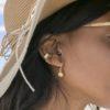 Pendientes ear cuff 6 líneas plata bañada en oro