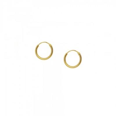 Pendientes aro 12mm plata bañada en oro