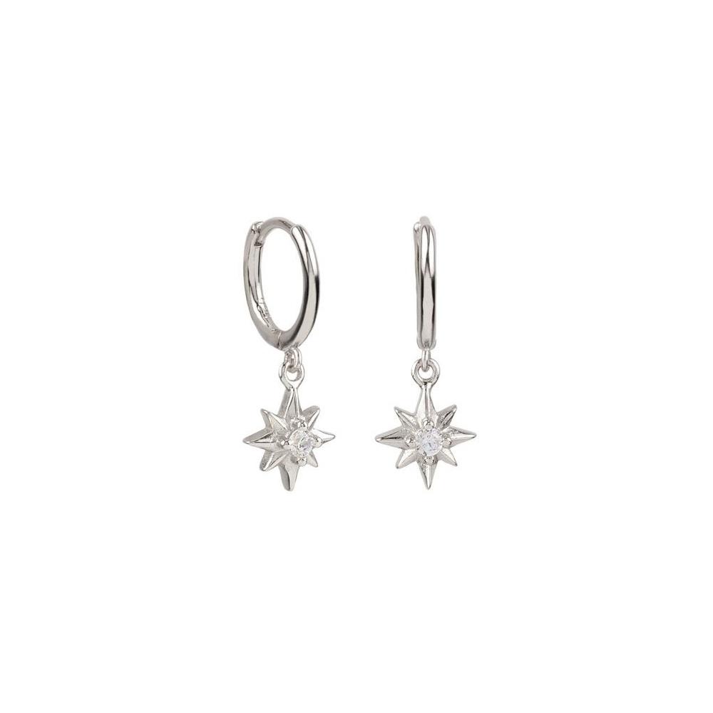 Pendientes aro con estrella polar zirconita en plata
