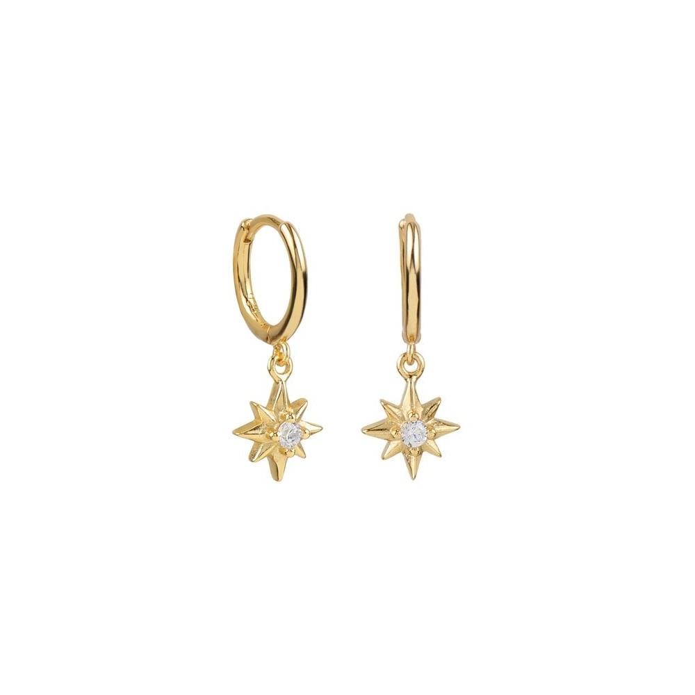 Pendientes aro con estrella polar zirconita plata bañada en oro