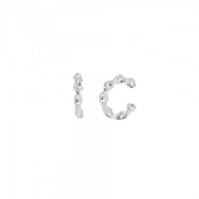Pendientes ear cuff trenzado en plata