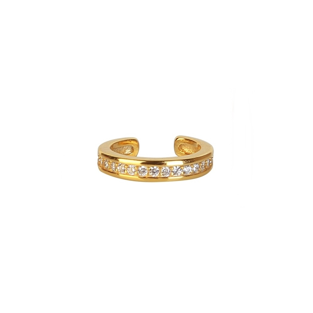 Pendientes ear cuff zirconitas plata bañada en oro Unidad