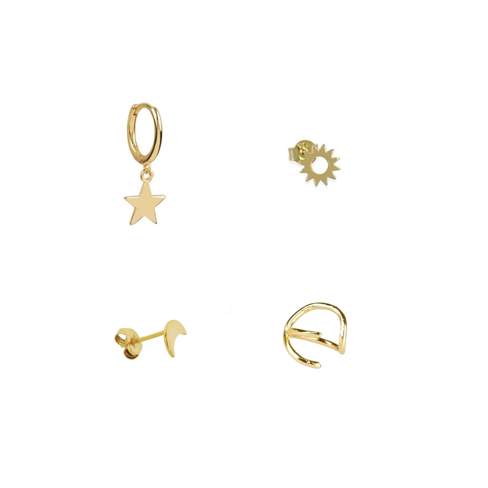 Cóctel pendientes estrella sol luna plata bañada en oro