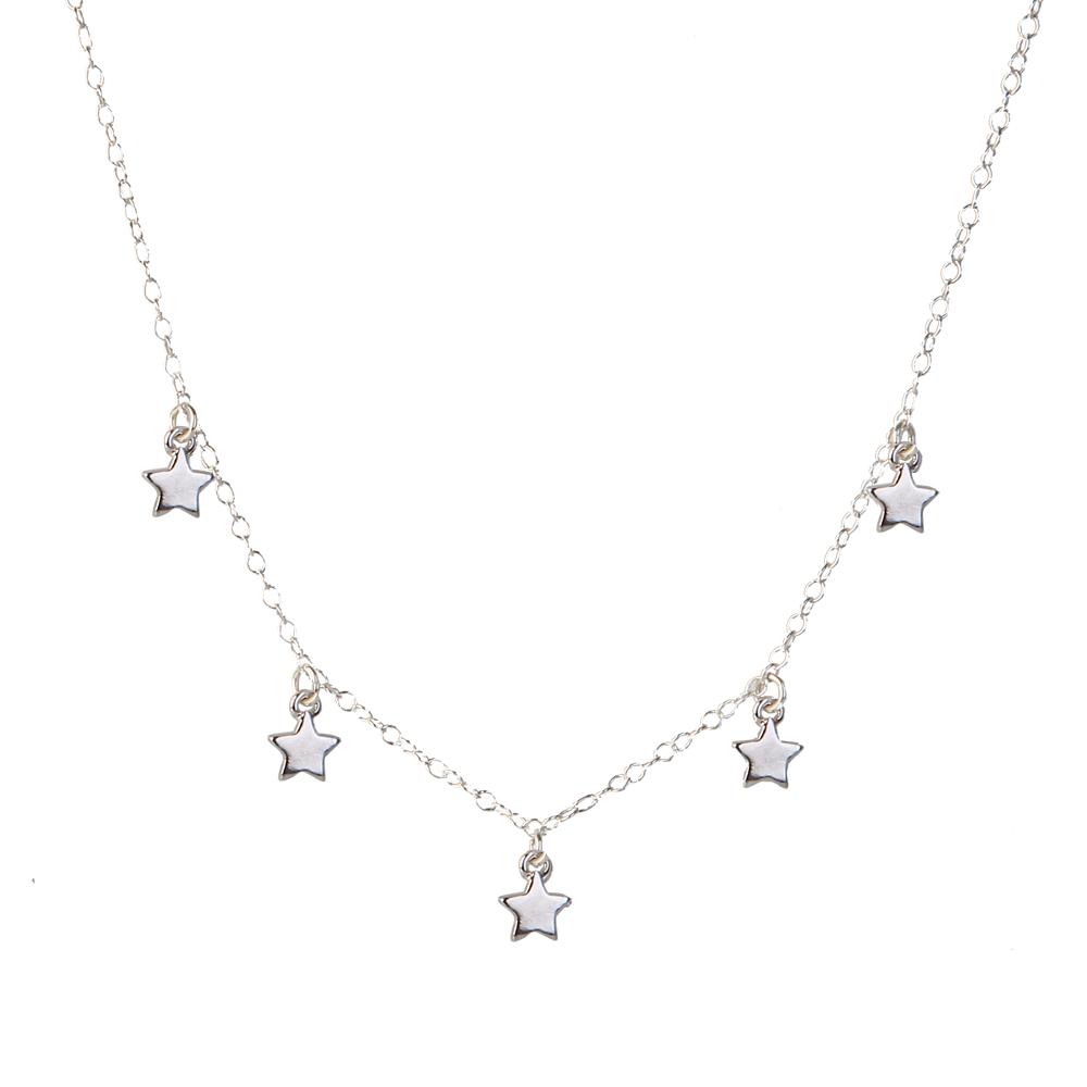 Collar 5 estrellas en plata de primera ley