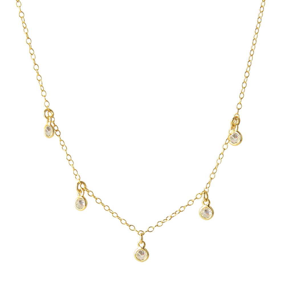 Collar 5 zirconitas plata bañada en oro