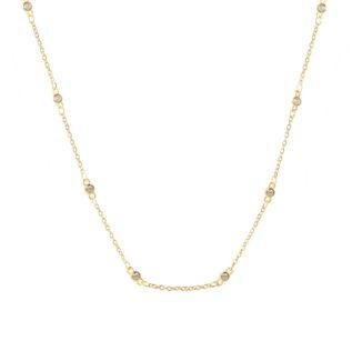 Collar choker con zirconitas plata bañada en oro