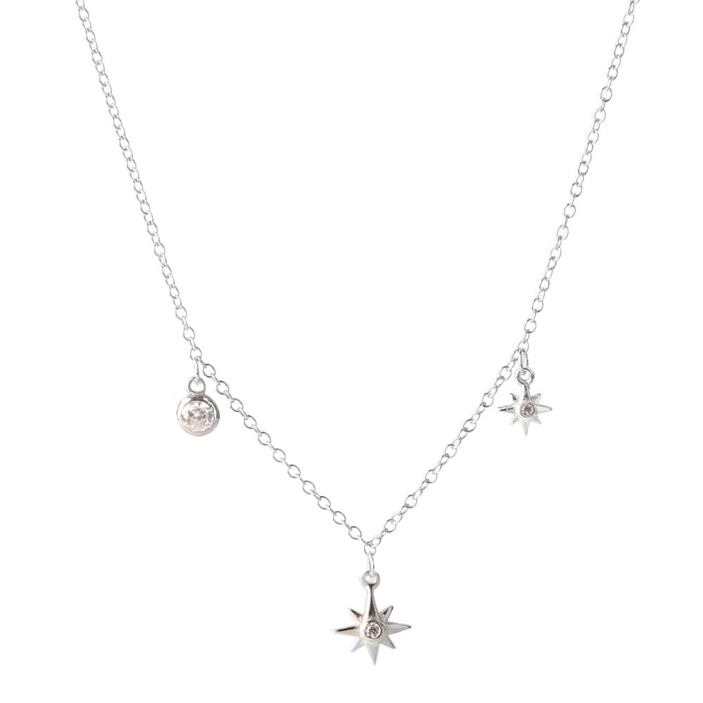 Collar choker estrella polar zirconitas en plata