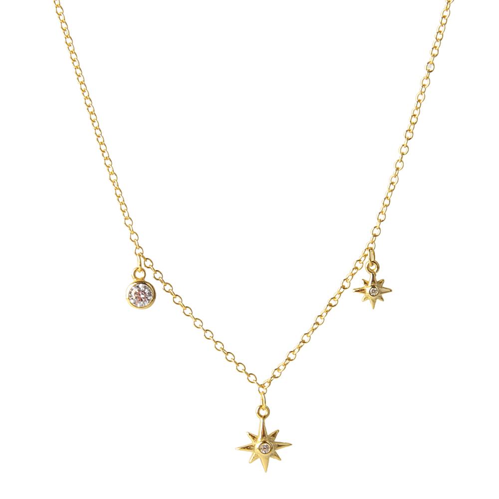 Collar choker estrella polar zirconitas plata bañada en oro