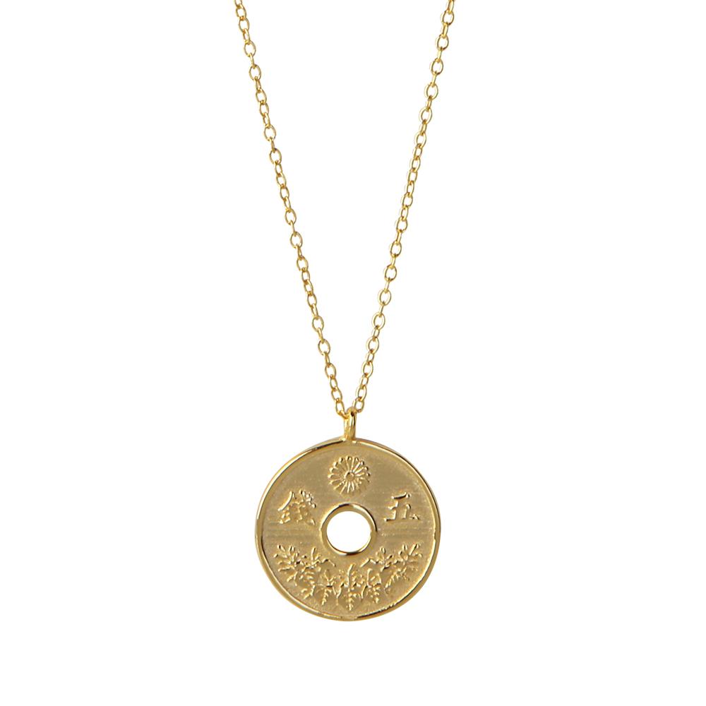 Collar moneda japonesa plata bañada en oro