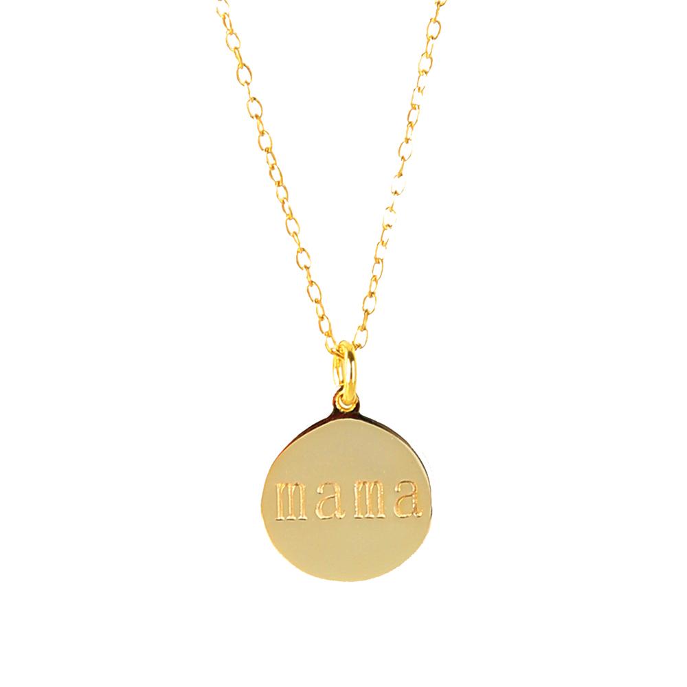 Collar placa mamá plata bañada en oro