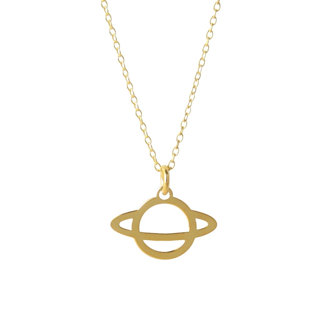 Collar saturno silueta plata bañada en oro