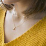 Collar 5 zirconitas, collar estrella polar con zirconita plata bañada en oro