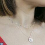 Collar moneda japonesa, collar bolitas colgadas en plata