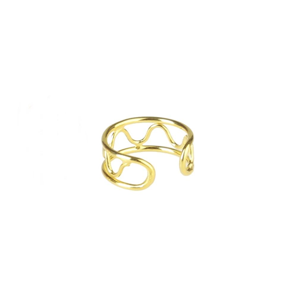 Pendientes ear cuff 2barras con ondas plata bañada en oro Unidad