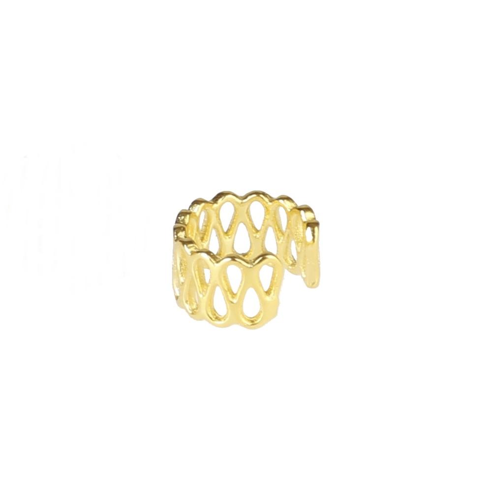 Pendientes ear cuff doble gota plata bañada en oro Unidad