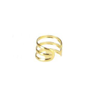 Pendientes ear cuff liso 3barras plata bañada en oro Unidad