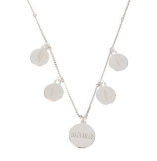 Collar placa mamá con iniciales en plata
