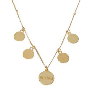 Collar placa mamá con iniciales plata bañada en oro