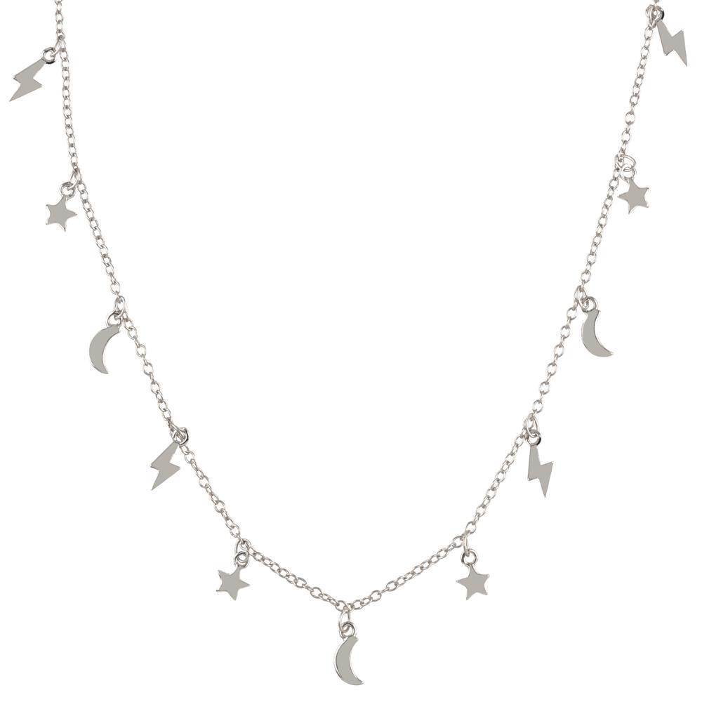 Collar rayo estrella luna colgadas en plata