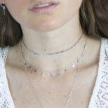 Collar rayo estrella luna colgadas, choker cadena eslabón en plata
