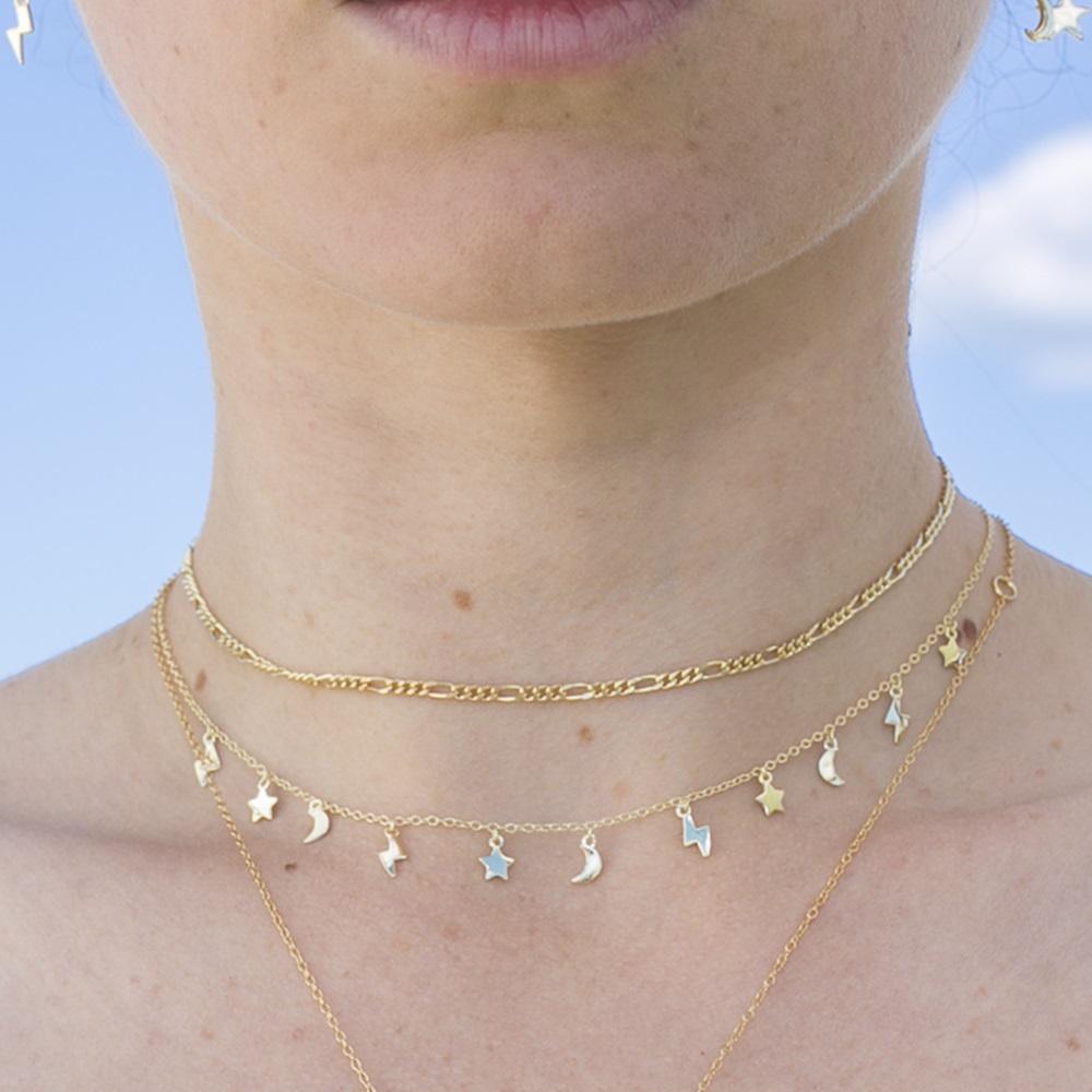 e6fe5de5d98e ... Collar rayo estrella luna colgadas y choker cadena eslabón plata bañada  en oro