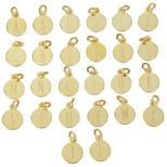 Placas con iniciales plata bañada en oro