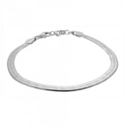 Pulsera cadena plana en plata