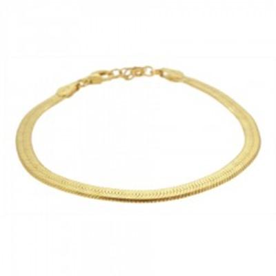 7725cd67283d Pulsera cadena plana plata bañada en oro - Nomada Artesanía