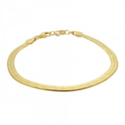 Pulsera cadena plana plata bañada en oro
