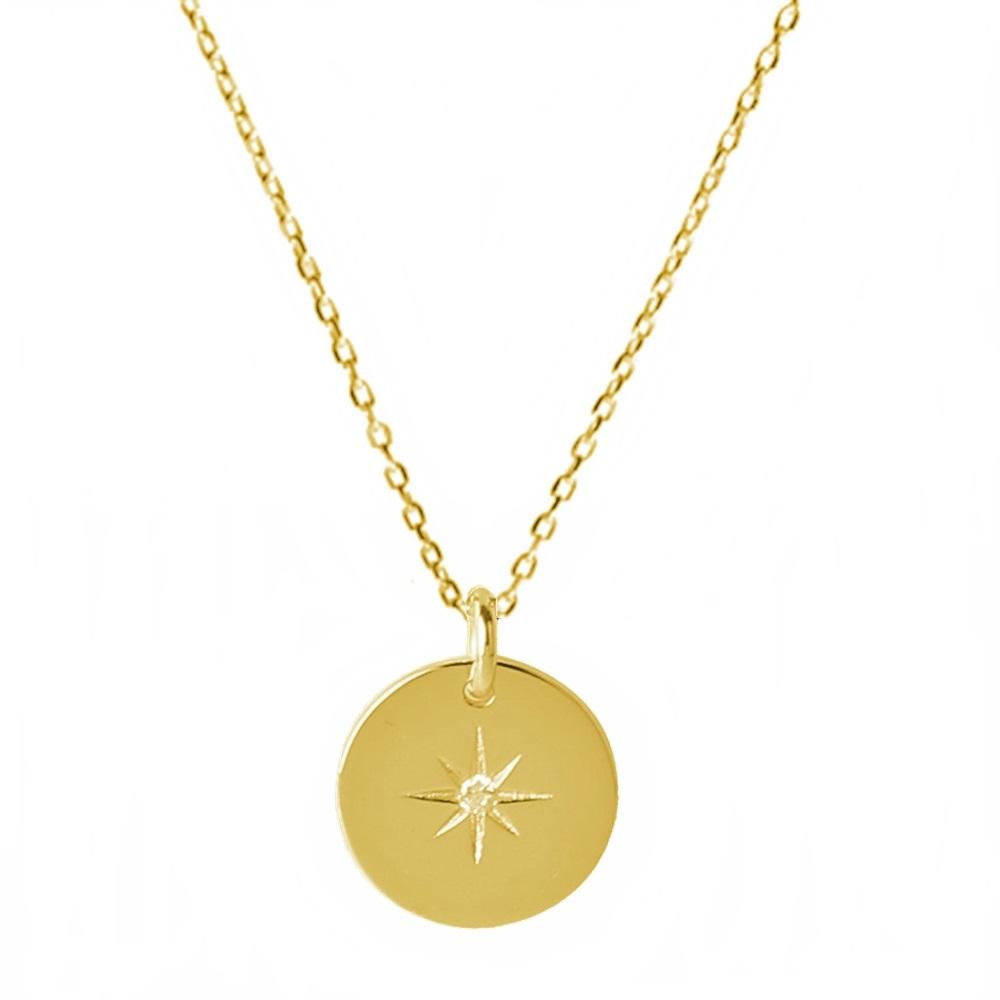 Collar placa estrella polar con zirconita plata bañada en oro