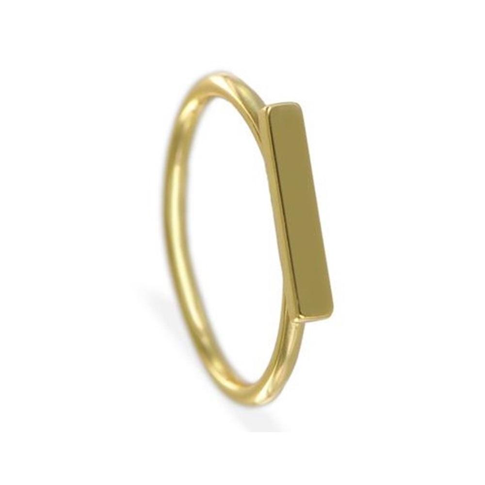 Anillo barra horizontal plata bañada en oro