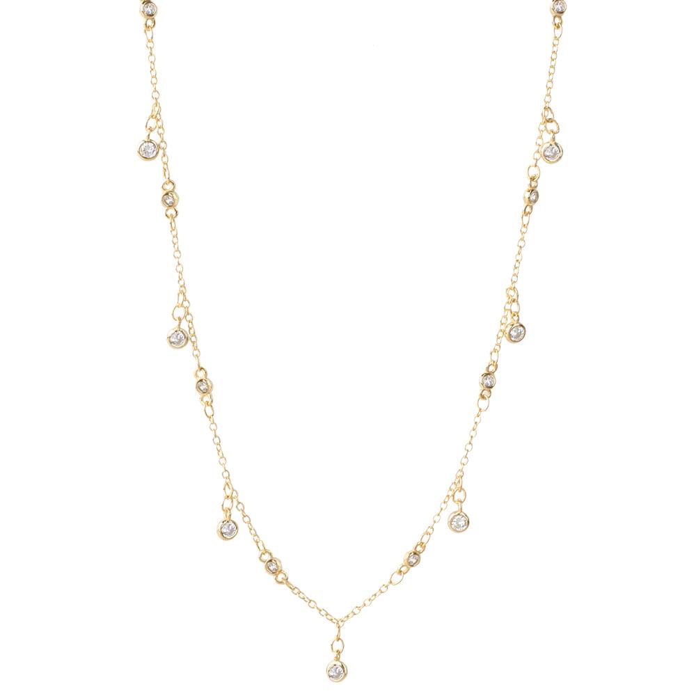 Collar choker zirconitas colgadas plata bañada en oro