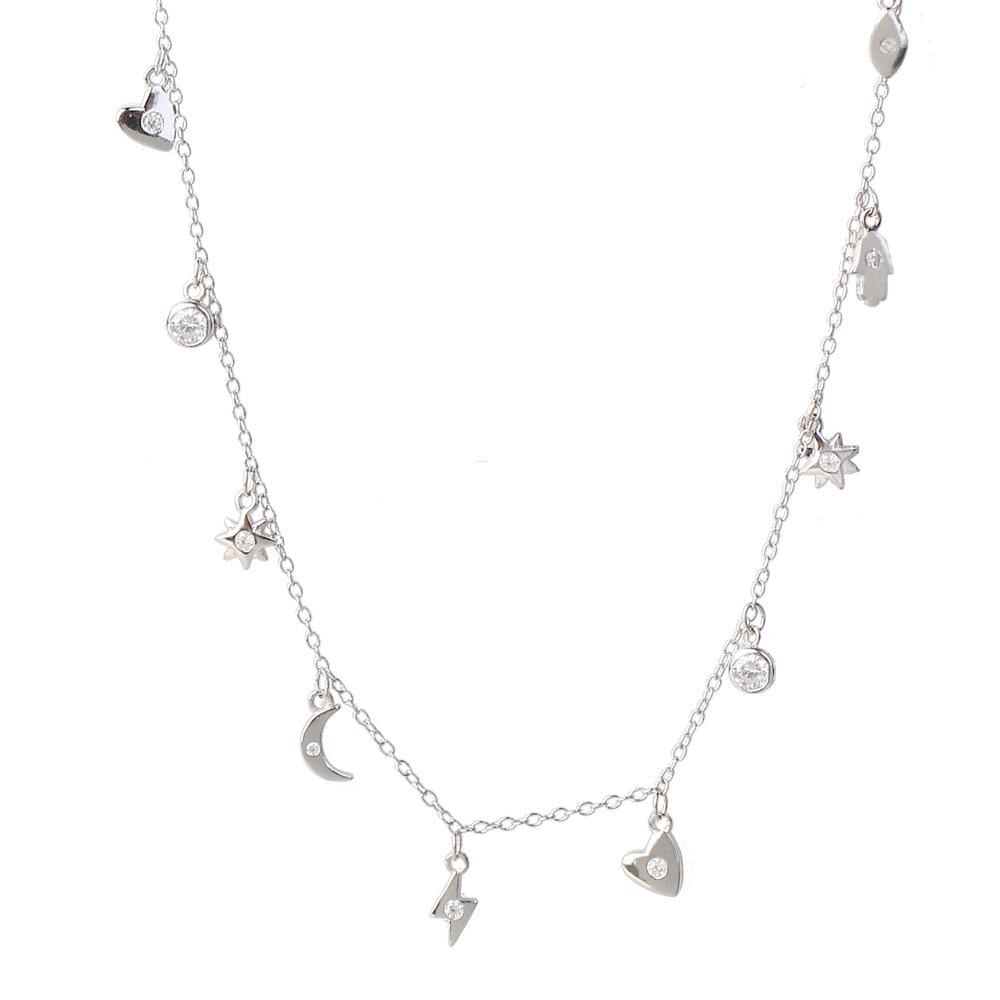 Collar colgantes con zirconita en plata
