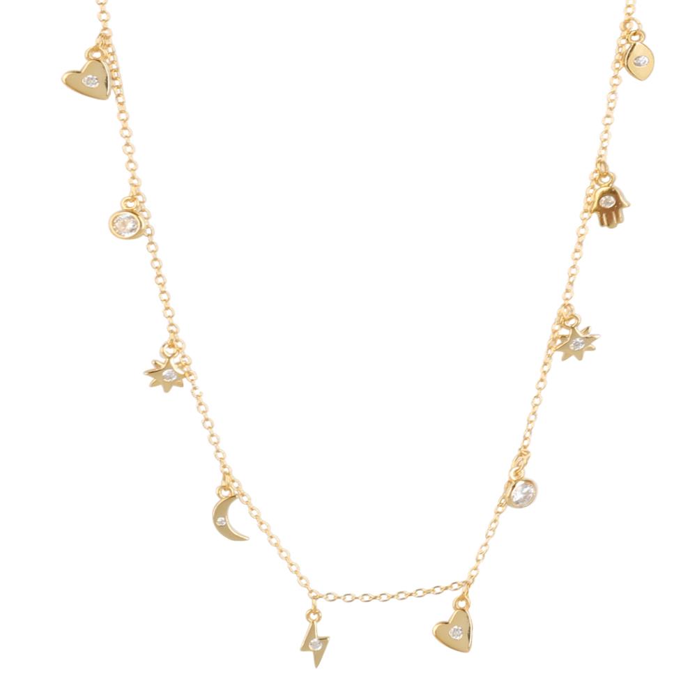 Collar colgantes con zirconita plata bañada en oro