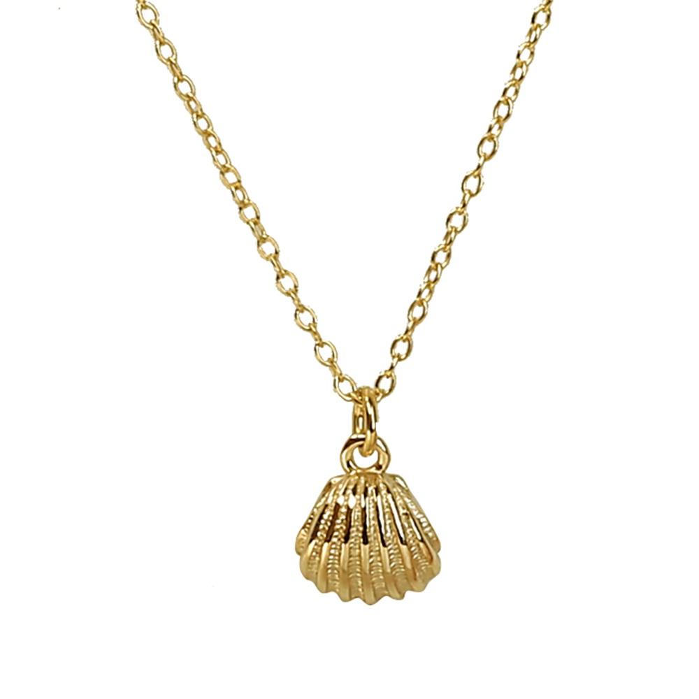 Collar concha mini plata bañada en oro