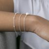 Pulsera con piedra semipreciosa, pulsera bolitas y pulsera cadena con bolitas en plata