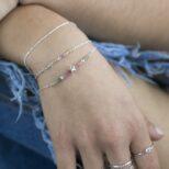 Pulsera estrella con piedra semipreciosa turmalina multicolor, pulsera bolitas y pulsera rosario con piedra semipreciosa turmalina multicolor en plata