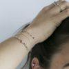 Pulsera rosario con piedra semipreciosa turmalina multicolor, pulsera bolitas y pulsera estrella con piedra semipreciosa turmalina multicolor en plata
