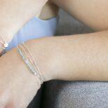 Pulsera estrella con piedra semipreciosa turquesa, pulsera bolitas y pulsera cadena con piedra semipreciosa turquesa en plata