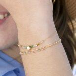 Pulsera estrella con piedra semipreciosa turmalina multicolor, pulsera bolitas y pulsera rosario con piedra semipreciosa turmalina multicolor plata bañada en oro