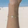 Pulsera con piedra semipreciosa perla, pulsera bolitas y pulsera cadena con piedra semipreciosa perla plata bañada en oro