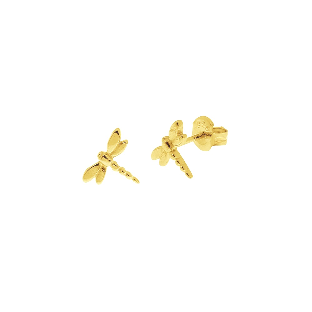 Pendientes libélula plata bañada en oro