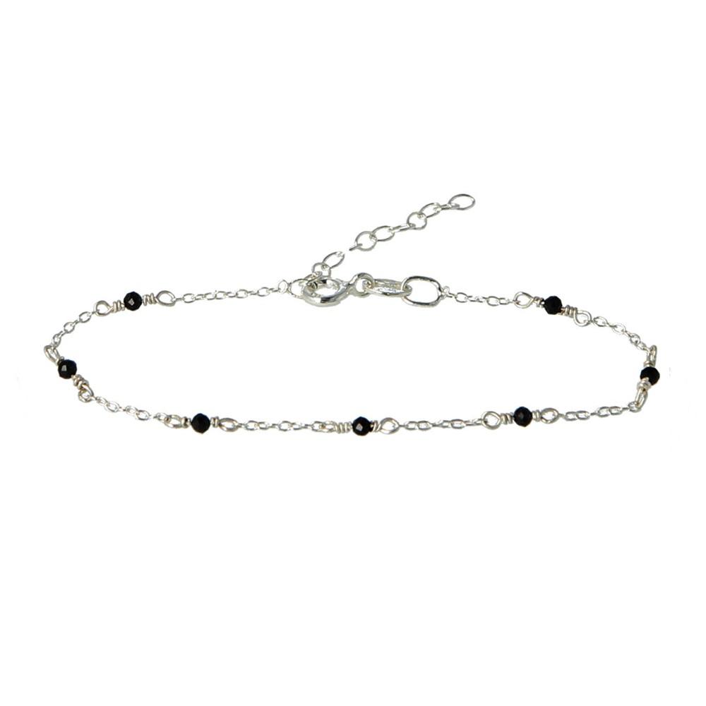Pulsera cadena con piedra semipreciosa en plata Espinela negra
