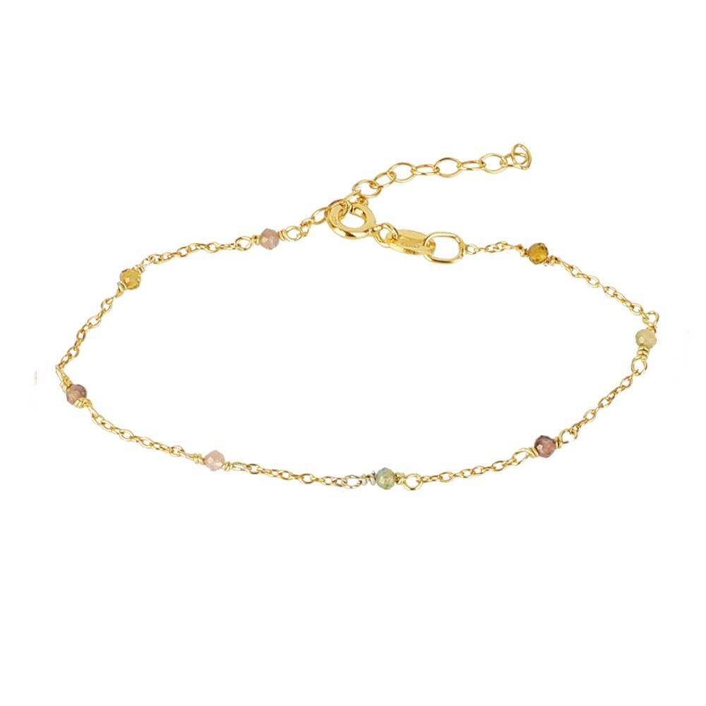 Pulsera cadena con piedra semipreciosa plata bañada en oro Turmalina multicolor