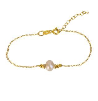 Pulsera con piedra semipreciosa plata bañada en oro Perla