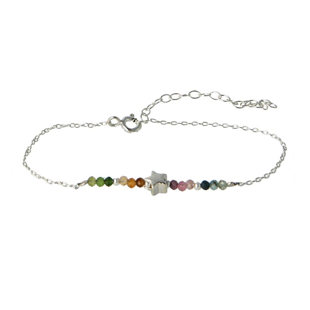 Pulsera estrella con piedra semipreciosa en plata Turmalina multicolor