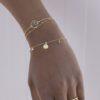Pulsera concha mini piedra semipreciosa, pulsera cadena con bolitas mini y pulsera ola plata bañada en oro