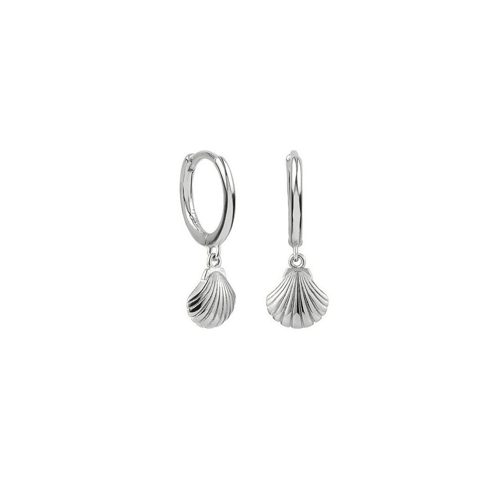 Pendientes aro con concha mini en plata
