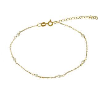 Tobillera cadena con piedra semipreciosa plata bañada en oro Perla